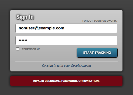 "Failed login stating ""Invalid username, password, or invitation."""
