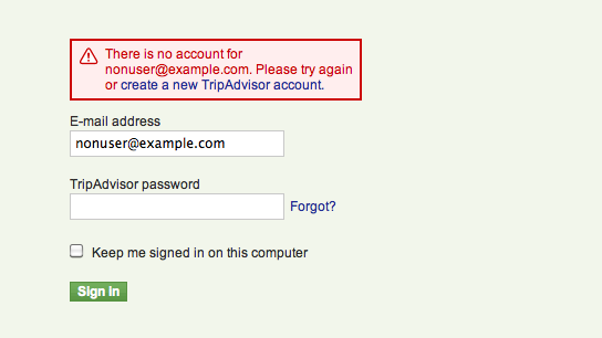 "Failed login stating ""There is no account for nonuser@example.com""."