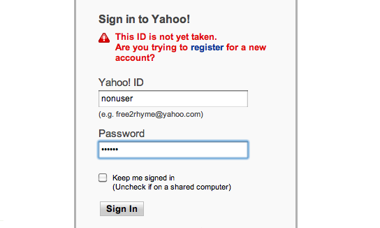 "Failed login stating ""This ID is not yet taken."""
