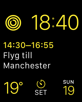 Screenshot: calendar on watch face